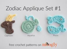 Zodiac Crochet Appliques: FREE on Mooglyblog.com! This set includes Capricorn, Aquarius, and Pisces.
