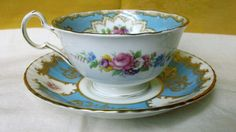 Royal Grafton Tea Cup Patterns | Vintage Royal Grafton China Tea Cup and Paragon Saucer Turquoise Blue ...