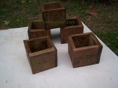 Mini Maceta Cubo De Madera Maciza Centro De Mesa Jardin Deco - $ 30,00