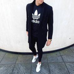 pea coat , black adidas hoodie , adidas superstar #casual