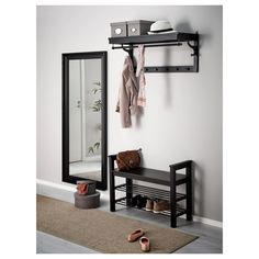 IKEA - HEMNES, Bench with shoe storage, black-brown, Holds a min. Coordinates with other furniture in the HEMNES series. Entryway Mirror With Hooks, Ikea Entryway, Ikea Mirror, Ikea Hemnes Mirror, Mirror Hooks, Apartment Entryway, Mirror Bedroom, Storage Mirror, Entryway Bench