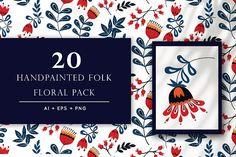 Handmade Folk Floral Pack by Shivangi Dubey on @creativemarket