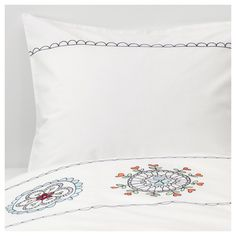 IKEA - VÄNSKAPLIG Duvet cover and pillowcase(s) white embroidery