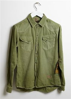 WESTERN HERRINGBONE SHIRT - GREEN Online or in-store - The Allotment Store