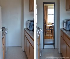 Make a small galley kitchen look bigger with a mirror on the back wall