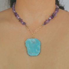 Turquoise pendant & amethyst stone statement necklace, double wrap gemstone necklace Lovely by Lovenza Turquoise Pendant, Turquoise Necklace, Amethyst Stone, Gemstone Necklace, Gemstones, Antiques, Vintage, Jewelry, Antiquities