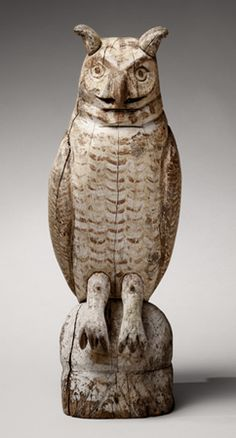 American Antiques - David Schorsch & Eileen Smiles - Areas of Expertise include Americana in the Folk Tradition: Americana Antique Folk Sculpture - Great Horned Owl