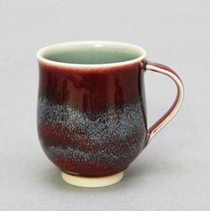 Wheelthrown Porcelain Mug with Red and Celadon Glaze by hsinchuen