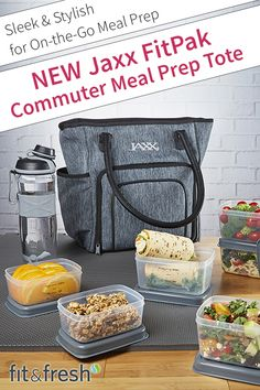 Eat healthy all day with the New Jaxx FitPak Commuter Meal Prep Tote. Meal prep containers and shaker cup included. Shop at www.fit-fresh.com. #FitFresh