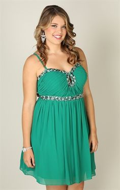 Plus Size Spaghetti Strap Dress with Stone Accents and Keyhole Cutout