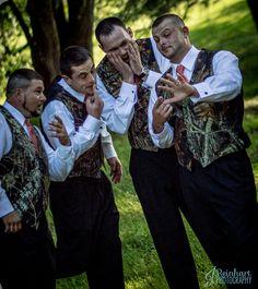 Groom showing off his ring camo groomsmen rustic barn wedding Pink Camo Wedding, Camo Wedding Rings, Hunting Wedding, Camouflage Wedding, Camp Wedding, Wedding Humor, Wedding Pics, Dream Wedding, Hunting Camo