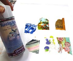 Resined Papers with Resin Spray.