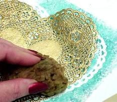 Lace effect using paper doilies.