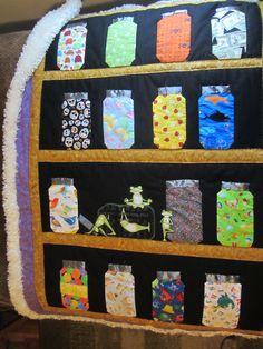 Mason jar quilt with a fur backing for a yoga teacher's son.