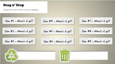 Storyline Drag-and-Drop Recycling Knowledge Check Recycling, Knowledge, Drop, Templates, Tools, Learning, Check, Stencils, Instruments