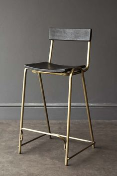 Black Soho Bar Stool With Gold Legs from Rockett St George Rockett St George Gold Bar Stools, Wood Counter Stools, Island Stools, Bar Stools With Backs, Metal Bar Stools, Metal Chairs, Bar Chairs, Room Chairs, Bar Stools Kitchen
