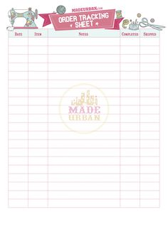 Printable Order Tracking Sheet