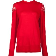Adam Lippes lace shoulder jumper (4,015 CNY) ❤ liked on Polyvore featuring tops, sweaters, red, jumper top, red lace top, lace sweater, red jumper and red sweater
