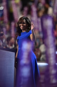 First Lady Michelle Obama addresses delegates on Day 1 of the Democratic National Convention.