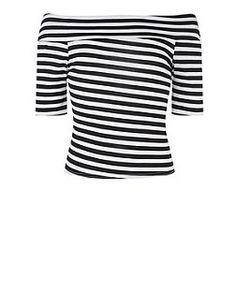 Teens Monochrome Jersey Bardot Neck Stripe Top | New Look