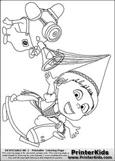 Despicable Me 2 - Agnes and Minion #1 - Coloring Page  Coloring page with Agnes and a Minion from Despicable Me 2. This colouring sheet show Agnes on her pretend unicorn with the popular firefighter -bee boo- minion behind her. Print and color this Despicable Me page that is drawn by Loke Hansen (http://www.LokeHansen.com) based on different images found online from one of the two Despicable movies.