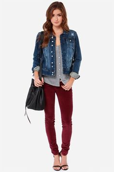 1756c13ab Maroon Pants Outfit, Skinny Pants Outfits, Maroon Jeans, Jeggings Outfit,  Leggings Are