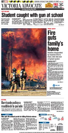 Here is the front page of the Victoria Advocate for Thursday, Jan. 23, 2014. To subscribe to the award-winning Victoria Advocate, please call 361-574-1200 locally or toll-free at 1-800-365-5779. Or you can pick up a copy at one of the numerous locations around the Crossroads region.