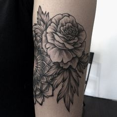 Beautiful dot work. I also love how delicate the leaves look. (at sashatattooing)