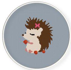 Cute hedgehog girl in love,Buy 4 get 1 free Cross stitch pattern PDFCute by danceneedle, $4.00