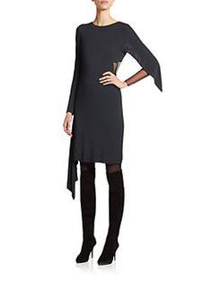 SAKS- Akris - Asymmetrical Sheer-Inset Dress