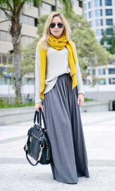 gray maxi skirt with yellow scarf, How to style your maxi skirt in winter http://www.justtrendygirls.com/how-to-style-your-maxi-skirt-in-winter/