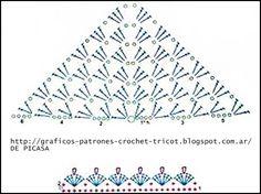 PATRONES=GANCHILLO = CROCHET = GRAFICOS =TRICOT = DOS AGUJAS: PATRONES PARA TEJER A GANCHILLO UN CHAL -PONCHO Y UNA CAPA Crochet Shawl Diagram, Crochet Poncho, Crochet Chart, Crochet Granny, Crochet Motif, Crochet Designs, Crochet Stitches, Crochet Patterns, Mode Crochet