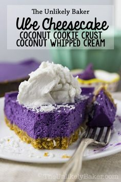 Ube cheesecake recipe - Luxurious ube cheesecake on a bed of crunchy coconut cookie crust topped with creamy coconut whipped cream recipe dessert baking filipinofood Filipino Desserts, Asian Desserts, Dessert Recipes, Filipino Food, Filipino Recipes, Purple Desserts, Pinoy Dessert, Recipes Dinner, Dessert