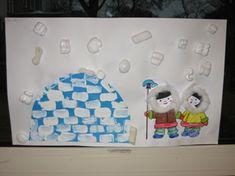 I like the igloo. Winter Kids, Winter Art, Winter Snow, Winter Activities, Preschool Activities, Drawing For Kids, Art For Kids, Winter Thema, Artic Animals