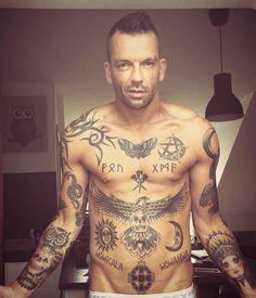 tattoo, blackworktattoo, runen, falcon, sun , moon