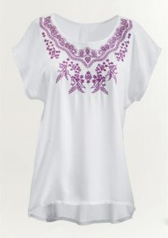Bali Embroidered Blouse from Midnight Velvet® Purple Orchids, Embroidered Blouse, Bali, Fashion Jewelry, Tunic Tops, Plus Size, My Style, Womens Fashion, Stuff To Buy