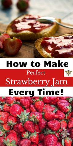 Let me show you how to make this easy, homemade strawberry jam recipe! Your family will love this strawberry jam recipe on toast or PB&J's! Easy Strawberry Preserves Recipe, Strawberry Scones, Homemade Strawberry Jam, Strawberry Jelly, How To Make Jam, Food To Make, Pressure Canning Recipes, Different Fruits, Jelly Jars