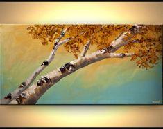Arbre d'or peinture 40 x 24 texturé paysage par OsnatFineArt
