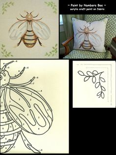 Paint by Numbers Bee Pillow ~ acrylic craft paint  on fabric - tutorial at lindycottagehill blog