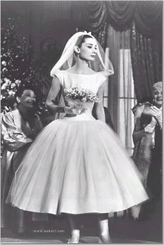 Audrey Hepburn, tea length wedding dress