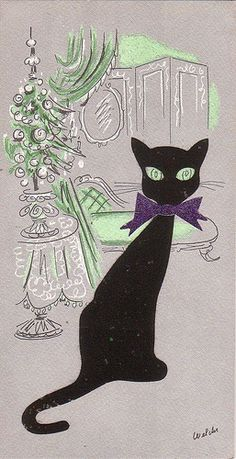 Christmas •~• vintage black cat greeting card, by Rosalind Welcher