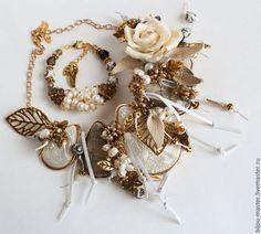 ПЕРЛАМУТРОВЫЙ ЗАКАТ - комплект - бежевый,айвори,белый,жемчужный,для невесты