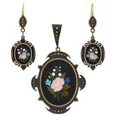 Victorian Pietra Dura Earring and Locket Set