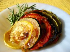 Ratatouille....A popular dish from the French region of Provence that combines eggplant, tomatoes, onions, bell peppers, zucchini, garlic and herbs --all simmered in olive oil.
