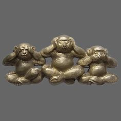 Large Upcycled 3 Wise Monkeys Brooch : Bygone Beauties | Ruby Lane Wise Monkeys, Ruby Lane, Upcycle, Lion Sculpture, Brooch, Statue, Three Wise Monkeys, Upcycling, Repurpose