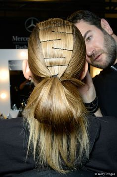 Too often we see Bobby pins being randomly left visible in a hair up when in fact unless it's a statement or done in a way that is the style it looks plain cheap and ugly. Hair Twist Styles, Medium Hair Styles, Work Hairstyles, Straight Hairstyles, Hairdos, Runway Hair, Catwalk Hair, Fall Hair Trends, Hair Growth Shampoo