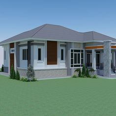Elevated Tropical One Story House: Blend of Nature and Architecture - Pinoy House Designs - Pinoy House Designs 2 Storey House Design, Green House Design, Modern House Design, Modern Bungalow House, Bungalow House Plans, Single Storey House Plans, Three Bedroom House Plan, Simple House Plans, House Address