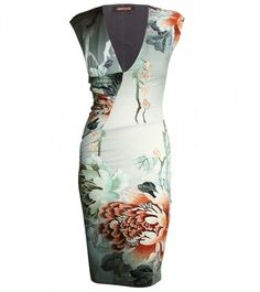 Super cute Roberto Cavalli Jersey Dress With Print Mode Outfits, Chic Outfits, Classy Outfits, Green Floral Dress, Floral Dresses, Sexy Dresses, Roberto Cavalli, Orange, Womens Fashion