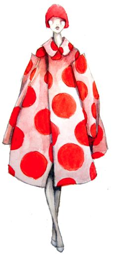 Polka dot swing coat illustration