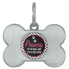 Custom polka dot and paw prints burnished silver bone shaped pet tag with name and phone number you can personalize. Colors are black, white, and hot pink. Tres chic. #pets